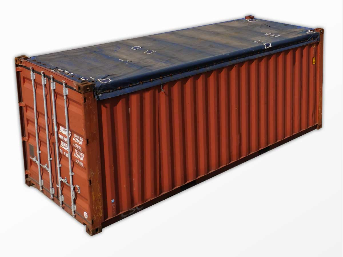 20 foot open top containers for sale new used interport for Tall shipping container